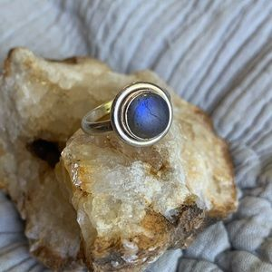 Jewelry - Sterling Genuine Moonstone Cabochon Dainty Ring